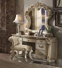 aico hollywood swank vanity 3 piece vendome gold patina vanity set with stool by acme 23007