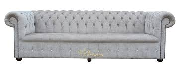 Grey Fabric Chesterfield Sofa by Chesterfield 1780 U0027s Swarovski Crystallized Diamond 4 Seater