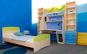 bedroom kids play room decor with small blue bed and small