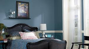 classic bedroom design with compact blue master bedroom paint