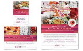 wedding event coordinator corporate event planner caterer flyer ad template design