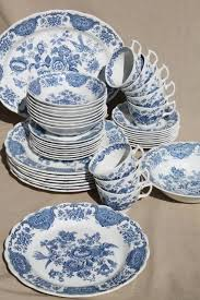 ridgway blue white vintage china dishes dinnerware set