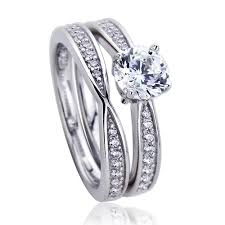 silver bridal rings images Double accent platinum plated sterling silver wedding ring round jpg