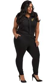 plus jumpsuit poetic justice plus size treshaune black sleeveless collared
