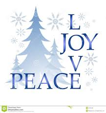 love joy peace christmas card with tree and snow royalty free