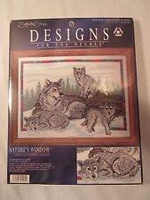 designs for the needle cross stitch kit nature s window wolf