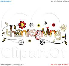 clipart of colorful sketched thanksgiving word royalty free