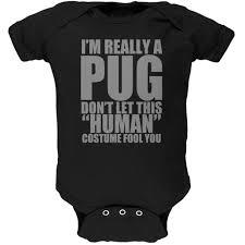 halloween human pug costume black soft baby one piece pug
