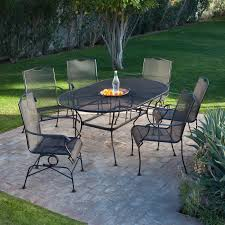 Patio Furniture 7 Piece Dining Set - belham living stanton 42 x 72 in oval wrought iron patio dining