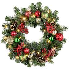 improvements indoor outdoor lighted christmas garland improvements 26 pre lit merry bright christmas wreath 50
