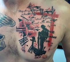 wonderful abstract military remembrance tattoo on chest for men