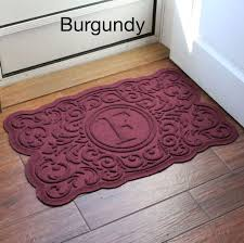 home decoration beautiful burgundy indoor monogram doormat