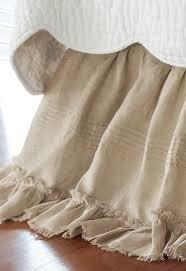 White Ruffle Bed Skirt Heritage Bedskirt Linen Bedskirt Pure Linen Bedskirt Soft
