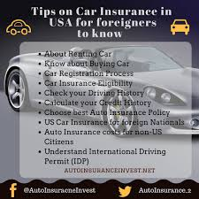 tips on car insurance in usa for foreigners to know about