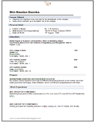 Resume Format For Electronics Engineering Student Mba Resume Template