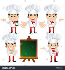set chef characters different poses stock vector 323269175