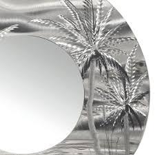 Wall Mirrors Mirror 106 Modern Tropical Metal Wall Mirror Silver Abstract