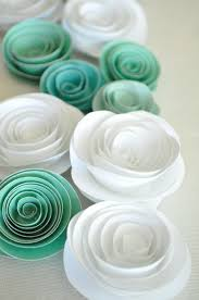 paper flowers teal and white paper flowers wedding table