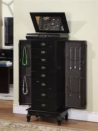 Tall Armoire Furniture Large Black Antique Style Jewelry Armoire With Eight Drawers