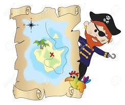 Treasure Map Clipart Illustration Of Pirate With Treasure Map Stock Photo Picture And