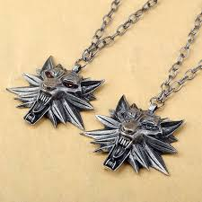 medallion necklace silver images The witcher 3 wild hunt wolf head medallion pendant and chain jpg