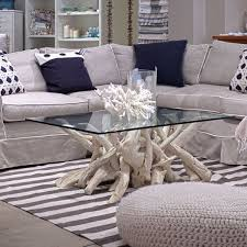 Coastal Style Coffee Tables Furniture Coastal Style Driftwood Coffee Table With Striped Rug