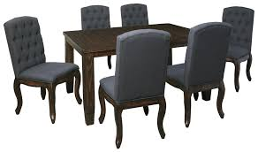 7 piece rectangular dining table set with upholstered side chairs