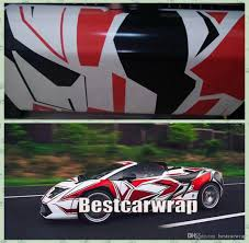 pixel race car large red white black pixel camo vinyl full car wrapping