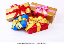 gift boxes with bow gift boxes bow colored presents wrapped stock photo 600747923