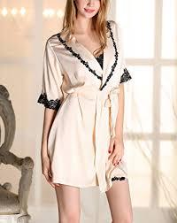 robe de chambre dentelle aivtalk femme chemise de nuit ensemble 2pcs luxe peignoir avec