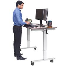 Sitting And Standing Desk by Luxor Standup Cf60 Dw Adjustable Standing Desk With Silver Steel
