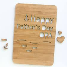 s day custom card fish laser cut bamboo wood happy fathers