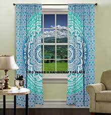 Boho Window Curtains Mint Green Ombre Mandala Tapestry Curtain Indian 2