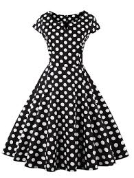 retro style polka dot print dress black xl in vintage dresses