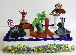 avengers 15 piece birthday cake topper set featuring captain