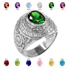 birthstone ring white gold us coast guard cz birthstone ring