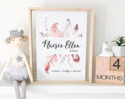 Personalised Baby Nursery Decor Baby Birth Details Etsy