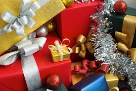 stack of beautiful gifts and decorations photo premium