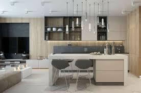 cuisine et salon ouvert idée relooking cuisine modèles de cuisine moderne luminaires