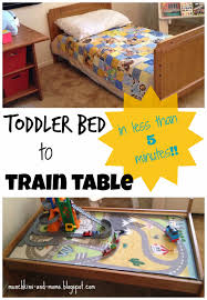 munchkins and moms toddler bed to train table in less than 5