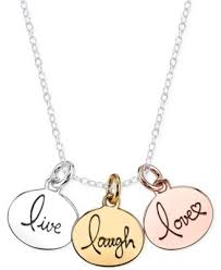 inspirational necklace unwritten tri tone live laugh pendant necklace in sterling