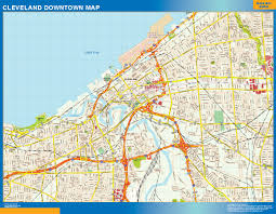 Usa Map Online by Cleveland Downtown Map Netmaps Usa Wall Maps Shop Online