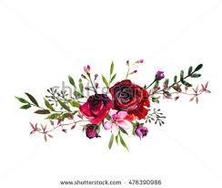 burgundy flowers watercolor floral bouquet purple burgundy roses stock illustration
