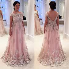 pink plus size prom dresses backless lace applique short sleeve