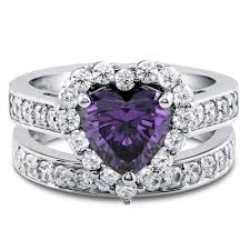 Heart Wedding Rings by Sterling Silver Heart Shaped Simulated Amethyst Cubic Zirconia Cz