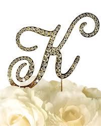 k cake topper collection rhinestone monogram cake topper in gold