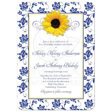 blue and yellow ribbon photo wedding invitation sunflower damask royal blue yellow