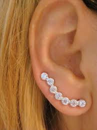 diamond cartilage piercing arced ear post earrings cartilage earring diamond ear cuff