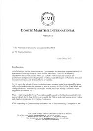 Samples Of Legal Letters by Correspondence From The President Comite Maritime International