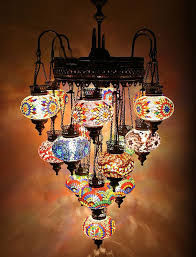 Turkish Chandelier 16 110 230v Large Turkish Moroccan Hanging Glass Mosaic